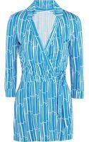 Diane Von Furstenberg Celeste Printed Silk Jersey Wrap Playsuit - Lyst