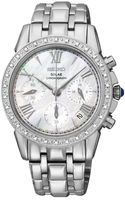 Seiko Womens Chronograph Le Grand Sport Solar Diamond Accent Stainless Steel Bracelet Watch 36mm Ssc893 - Lyst