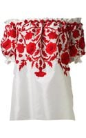 Naeem Khan Embroidered Peasant Blouse - Lyst