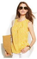 Michael Kors Michael Sleeveless Polkadot Pleat Top - Lyst