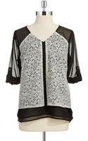 Calvin Klein Lace Accented Blouse - Lyst