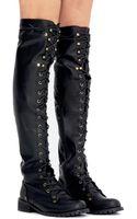 Pixie Market Rachel Knee High Lace Up Boots - Lyst