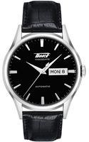 Tissot Mens Visodate Black Automatic Leather Strap Watch - Lyst