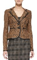 Nanette Lepore I Spy Leathertrim Lace Jacket Camel - Lyst