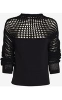 Helmut Lang Micro Grid Crop Sweater - Lyst