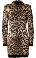 Balmain Leopard Print Knit Dress - Lyst