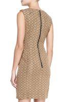 Nanette Lepore Looking Glass Leathershoulder Sheath Dress - Lyst