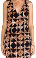 Indah Riva Deep Vneck Tback Sleeveless Mini Dress in Black - Lyst