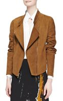 Donna Karan New York Asymmetric Zip Suede Jacket Brandy - Lyst