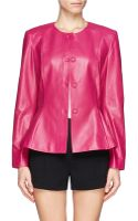 St. John Nappa Leather Peplum Jacket - Lyst