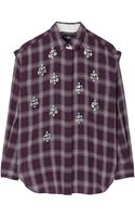 By Malene Birger Alfredah Embellished Plaid Blouse - Lyst
