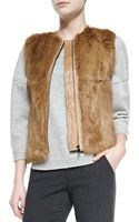 Vince Quilted Leather Fur Zip Vest Camel Petite - Lyst