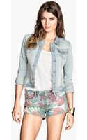 H&M Patterned Denim Shorts - Lyst