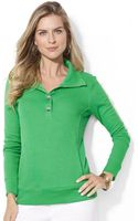 Lauren by Ralph Lauren Buttoned Collar Cotton Cardigan - Lyst