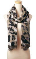 Theodora & Callum Black Multi Snow Leopard Allover Fringe Scarf - Lyst