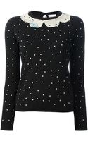 RED Valentino Polka Dot Print Sweater - Lyst