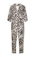 Saloni Kristin Printed Linen V-neck Jumpsuit - Lyst