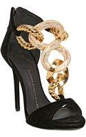 Giuseppe Zanotti 120mm Jeweled Chain Velvet Sandals - Lyst