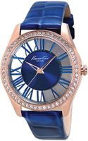 Kenneth Cole Womens Blue Crocembossed Leather Strap 39mm - Lyst
