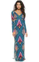 Mara Hoffman Deep V Side Cutout Gown  Bazaar Blue - Lyst