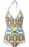 Dolce & Gabbana Maiolicaprint Swimsuit - Lyst