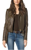Michael Kors Cropped Leather Moto Jacket - Lyst