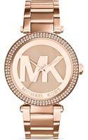 Michael Kors Rose Goldtone Parker Threehand Glitz Watch 33mm - Lyst