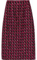 Oscar de la Renta Checked Tweed Pencil Skirt - Lyst