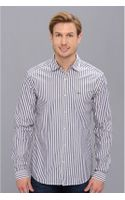 Lacoste Glc Long Sleeve Stripe Woven Shirt - Lyst
