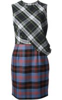 McQ by Alexander McQueen Draped Checked Dress - Lyst