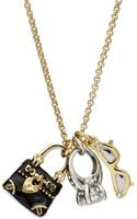 Juicy Couture Goldtone Glamour Charm Necklace - Lyst
