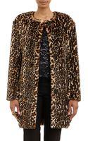 Nina Ricci Leopardprint Fauxfur Belted Coat - Lyst