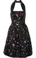 Oscar de la Renta Floralembroidered Gauze Halterneck Dress - Lyst