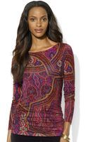 Lauren by Ralph Lauren Paisley Boat Neck Top - Lyst