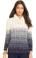 Lauren by Ralph Lauren Petite Cable-knit Ombre Turtleneck Sweater - Lyst