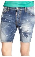 DSquared2 Distressed Denim Shorts - Lyst
