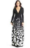 Diane von Furstenberg Dvf Kailey Silk Combo Embellished Wrap Gown - Lyst