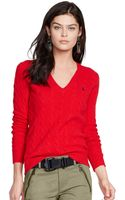 Polo Ralph Lauren V-neck Cable-knit Wool-cashmere Sweater - Lyst