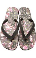 Givenchy Black Rose Print Slip_on Sandals - Lyst