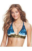 Lucky Brand Tiedye Ruffletrim Halter Bikini Top - Lyst