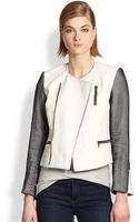 Laveer Meshpaneled Leather Moto Jacket - Lyst