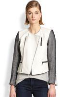 Laveer Meshpaneled Leather Moto Jacket - Lyst