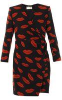 Saint Laurent Archive Lipsprint Silkcrepe Dress - Lyst