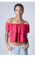 Topshop Bardot Blouse  Berry Red - Lyst