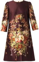 Dolce & Gabbana Floral and Key-print Duchess-satin Dress - Lyst