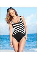 DKNY Striped One-piece Swimsuit - Lyst