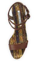 Manolo Blahnik Amim Cork Wedge Sandal - Lyst