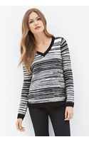 Love 21 Striped Vneck Sweater - Lyst