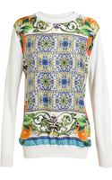 Dolce & Gabbana White Knit with Floral Pattern Silk Front - Lyst