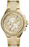 Michael Kors Ladies Goldtone Horn Camille Chronograph Glitz Watch - Lyst